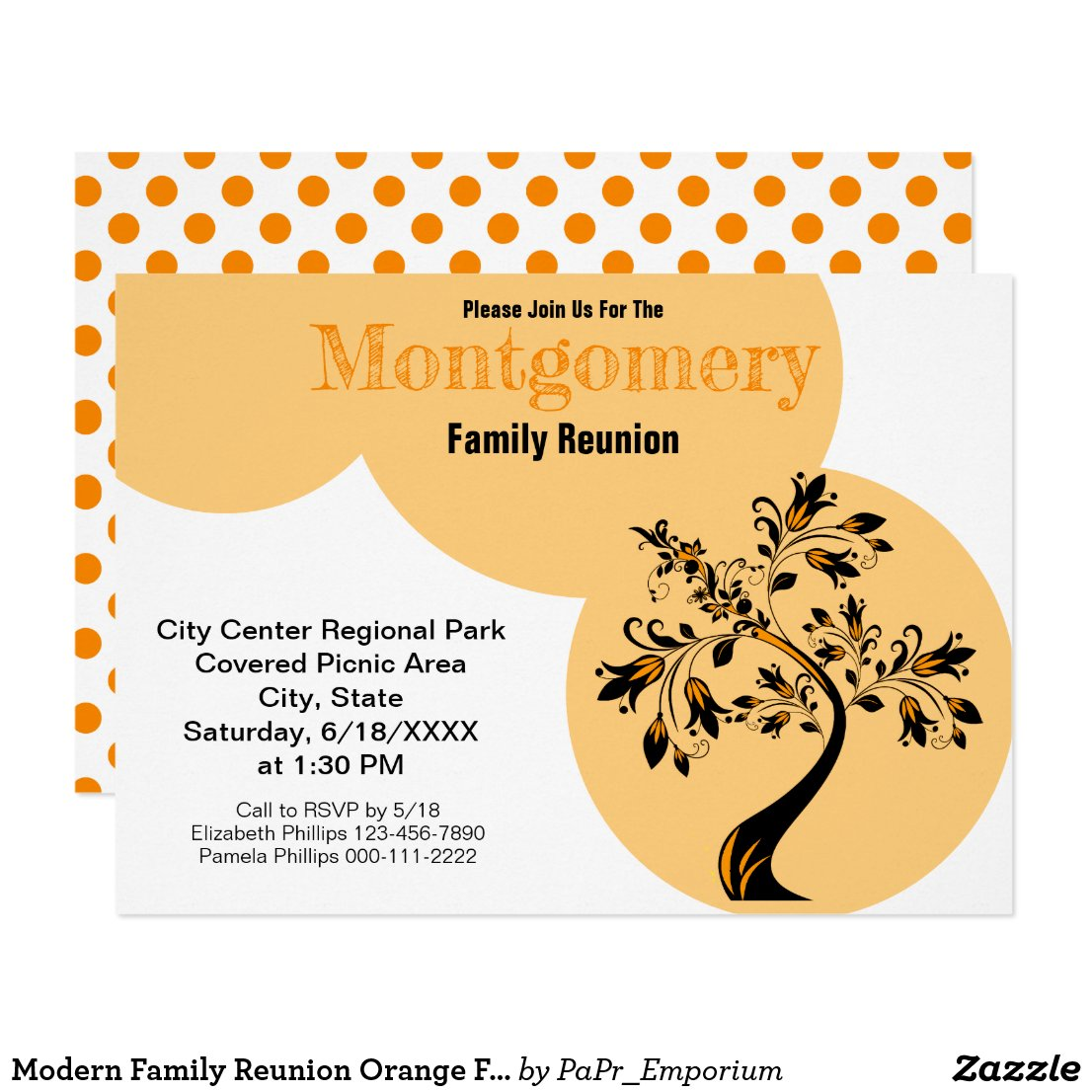 family, family reunion, invitation, modern, template, orange, family tree,