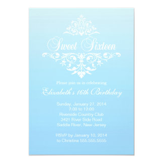Modern Fancy Blue Sweet Sixteen Birthday Party 5x7 Paper Invitation Card