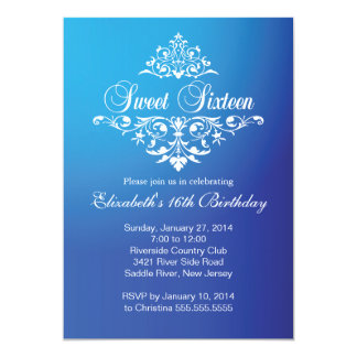 Modern Fancy Blue Sweet Sixteen Birthday Party Card