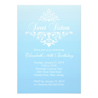 Modern Fancy Blue Sweet Sixteen Birthday Party Cards
