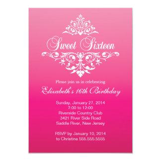 Modern Fancy Hot Pink Sweet Sixteen Birthday Party Card