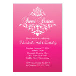 Modern Fancy Hot Pink Sweet Sixteen Birthday Party Custom Invitation