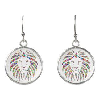 Modern Fancy Personalized Custom Colorful Lion Earrings
