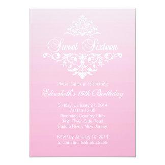 Modern Fancy Pink Sweet Sixteen Birthday Party Card