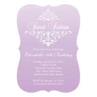 Modern Fancy Purple Sweet Sixteen Birthday Party Card