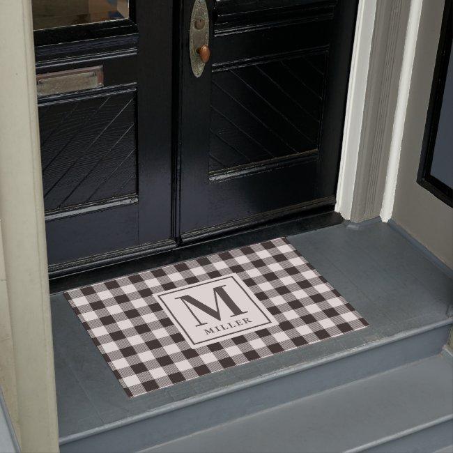 Modern Farmhouse Black Buffalo Plaid Monogrammed Doormat