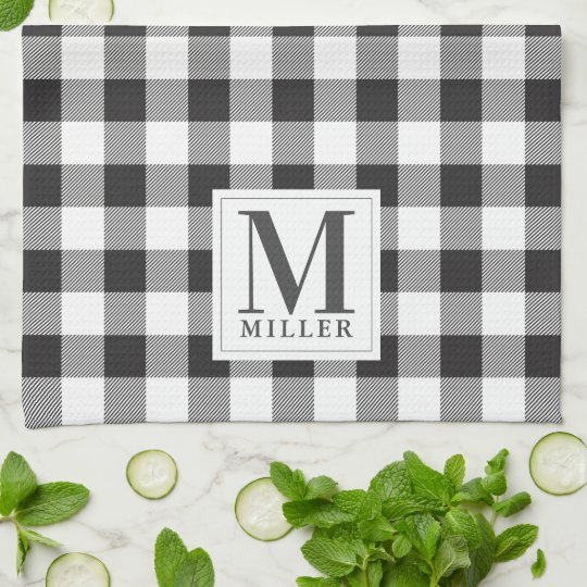 Modern Farmhouse Black Buffalo Plaid Monogrammed Kitchen Towel
