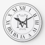 Modern Farmhouse Black White Monogram Family Clock