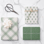 """Modern Farmhouse holiday wrapping paper - green<br><div class=""""desc"""">This wrapping paper collection features plaid,  snowflake and Christmas tree patterns for a minimalist holiday look.</div>"""