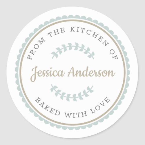 Modern Farmhouse Personalized Baking Gift Classic Round Sticker