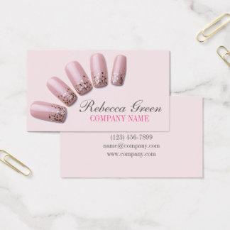 modern fashion girly beauty salon nail artist business card