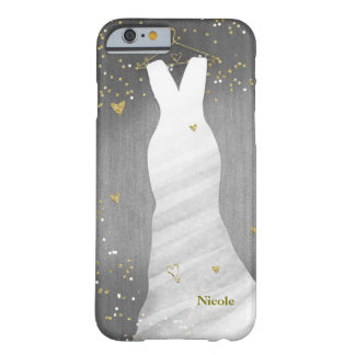 Modern Fashion Glam Fancy Dress & Confetti Hearts Barely There iPhone 6 Case