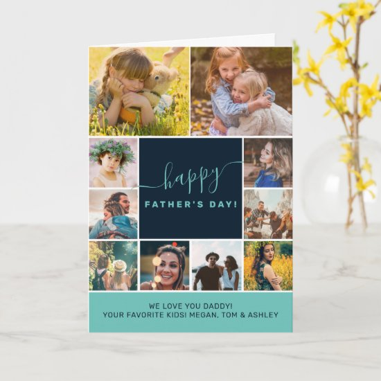 Modern fathers day 11 photo collage grid template