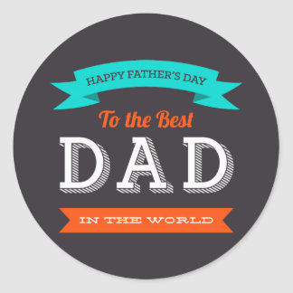 Modern Father's Day Typography Design Classic Round Sticker