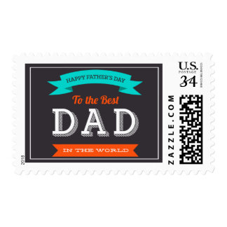 Modern Father's Day Typography Design Postage