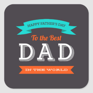 Modern Father's Day Typography Design Square Sticker