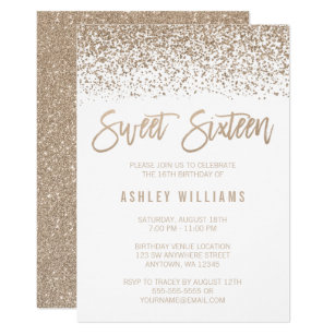 Modern Faux Champagne Glitter Sweet 16 Birthday Invitation