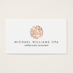 Modern Faux Copper Rose Gold Numbers Accountant Business Card at Zazzle
