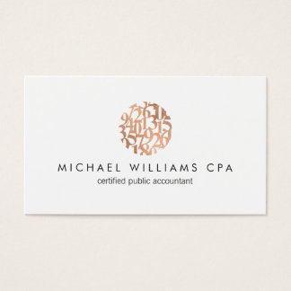 Modern Faux Copper Rose Gold Numbers Accountant Business Card