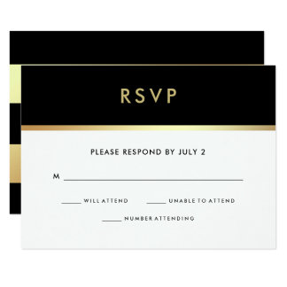 Modern Faux Gold and Black Bat Mitzvah RSVP Card