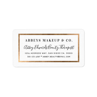 Modern Faux Gold Border Business Label Stickers