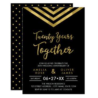Modern Faux Gold Chevron 20th Anniversary Party Card