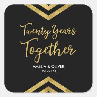 Modern Faux Gold Chevron 20th Anniversary Party Square Sticker
