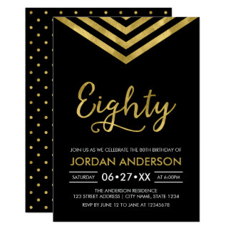 Modern Faux Gold Chevron 80th Birthday Party Card