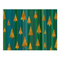 Modern Faux Gold Christmas Trees w/ Green Stripes Postcard