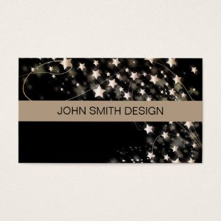 Modern Faux Gold Confetti Gold Star on Black Business Card