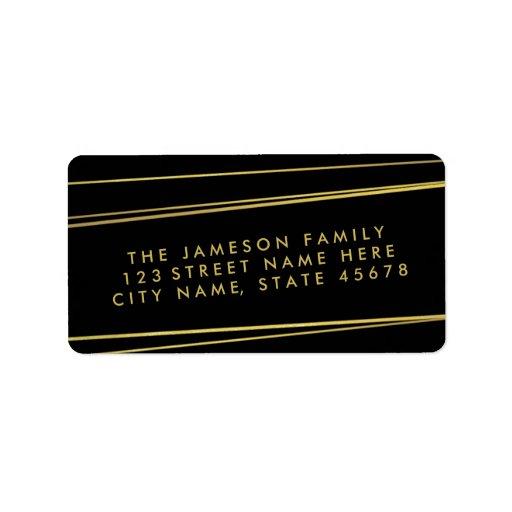 gold foil mailing labels modern faux gold foil address label black