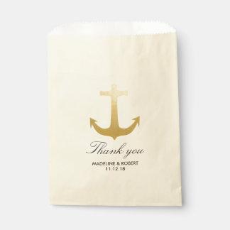 Modern Faux Gold Foil Anchor Nautical Wedding Favor Bag
