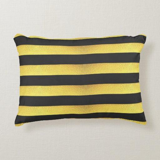 Gold Foil Decorative Pillow : Modern Faux Gold Foil Black Stripes Decorative Pillow Zazzle