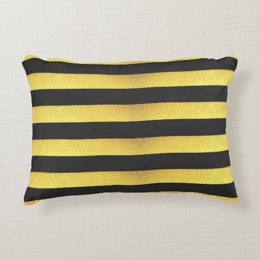 Modern Faux Gold Foil Black Stripes Decorative Pillow Zazzle