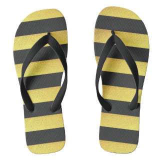 Modern Faux Gold Foil Black Stripes Flip Flops