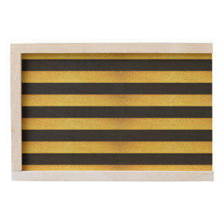 Modern Faux Gold Foil Black Stripes Wooden Keepsake Box