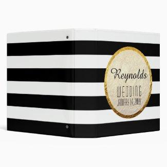 Modern Faux Gold Foil Black White Stripe Wedding