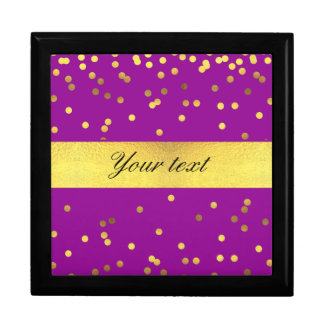 Modern Faux Gold Foil Confetti Purple Gift Box