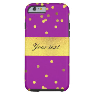 Modern Faux Gold Foil Confetti Purple Tough iPhone 6 Case