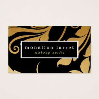 Modern Faux Gold Foil Flourish Pattern Business Card