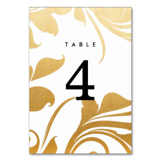 Modern Faux Gold Foil Flourish Wedding Card