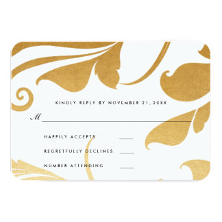 Modern Faux Gold Foil Flourish Wedding RSVP Card