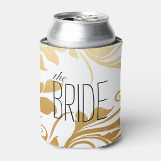 Modern Faux Gold Foil Flourish Wedding The Bride Can Cooler