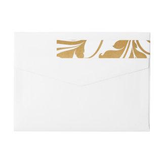 Modern Faux Gold Foil Flourish Wedding Wrap Around Label