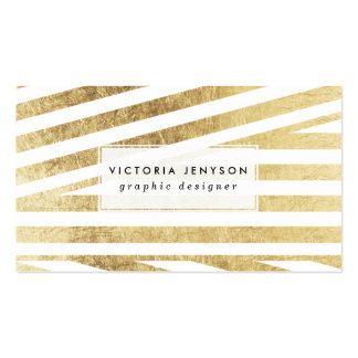 Modern faux gold foil geometric stripes pattern business card