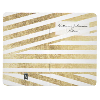 Modern faux gold foil geometric stripes pattern journal