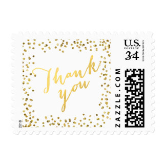 Modern Faux Gold Foil Glitter Glamor Small Postage