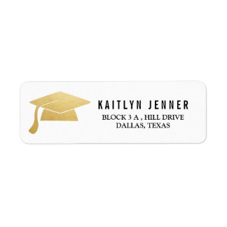 Modern Faux Gold Foil Graduation Hat Simple Casual Label