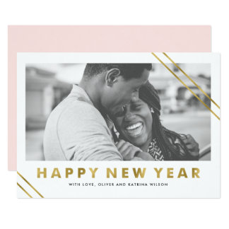 Modern Faux Gold Foil Happy New Year Photo Card