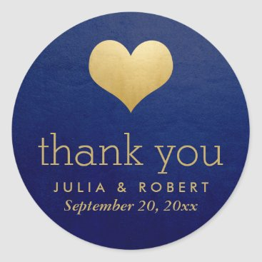 Valentines Themed Modern Faux Gold Foil Heart Blue Wedding Thank You Classic Round Sticker